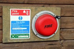 Οδηγίες θέσεων για κατασκήνωση πυρκαγιάς συναγερμών και εκκένωσης στοκ εικόνες