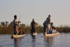 Οδηγοί και τουρίστες στο Okavangodelta Στοκ Εικόνα