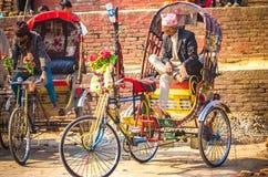 Οδηγοί Rickshwa του Νεπάλ Στοκ εικόνα με δικαίωμα ελεύθερης χρήσης