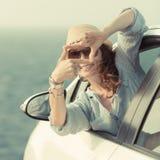 Οδηγός γυναικών στο αυτοκίνητο Στοκ Εικόνα