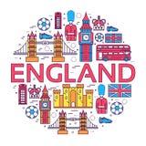 Οδηγός διακοπών ταξιδιού της Αγγλίας χώρας των αγαθών, θέσεις στο λεπτό σχέδιο ύφους γραμμών Σύνολο αρχιτεκτονικής, άνθρωποι, αθλ Στοκ φωτογραφία με δικαίωμα ελεύθερης χρήσης