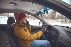 0 οδηγός στο αυτοκίνητο Στοκ Εικόνες