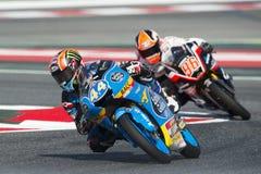 Οδηγός Aron Canet Estrella Γαλικία ΟΜΑΔΑ Moto3 Ενεργειακά Grand Prix τεράτων της Καταλωνίας Στοκ Εικόνα
