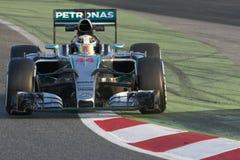 Οδηγός Lewis Χάμιλτον Ομάδα Mercedes Petronas Στοκ εικόνα με δικαίωμα ελεύθερης χρήσης