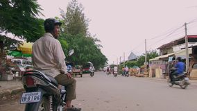 Οδηγός Moto, ταξί, Καμπότζη, Νοτιοανατολική Ασία απόθεμα βίντεο