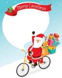 Οδηγώντας ποδήλατο Άγιου Βασίλη με τον τάρανδο διανυσματική απεικόνιση