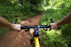Οδηγώντας ποδήλατο βουνών γρήγορα σε ένα ίχνος Στοκ Εικόνες