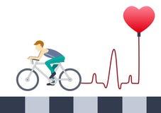 Οδηγώντας ποδήλατο νεαρών άνδρων με την καρδιά EKG στο άσπρο υπόβαθρο, σχέδια ελεύθερη απεικόνιση δικαιώματος