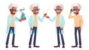 Ο ηληκιωμένος θέτει το καθορισμένο διάνυσμα μαύρα Afro Αμερικανός Ηλικιωμένοι άνθρωποι Ανώτερο πρόσωπο agedness Θετικός συνταξιού Απεικόνιση αποθεμάτων