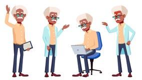 Ο ηληκιωμένος θέτει το καθορισμένο διάνυσμα μαύρα Afro Αμερικανός Ηλικιωμένοι άνθρωποι Ανώτερο πρόσωπο agedness Απομονωμένη απεικ Ελεύθερη απεικόνιση δικαιώματος