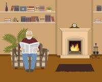 Ο ηληκιωμένος κάθεται σε μια πολυθρόνα και διαβάζει μια εφημερίδα διανυσματική απεικόνιση