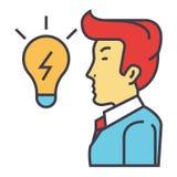 Ο δημιουργικός επιχειρηματίας, μεγάλη επιχειρησιακή ιδέα είναι με μορφή μιας λάμπας φωτός, έννοια καταιγισμού ιδεών απεικόνιση αποθεμάτων