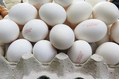 Οδησσός, Ουκρανία στις 8 Σεπτεμβρίου 2015: Αυγά κοτόπουλου στους δίσκους UK Στοκ εικόνες με δικαίωμα ελεύθερης χρήσης
