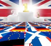Ο ηττημένος Ηνωμένο Βασίλειο νικητών σημαιοστολίζει fpr το νικητή παραδείγματος brexit Στοκ Εικόνες