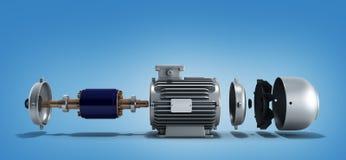 Ο ηλεκτρικός κινητήρας στο αποσυντεθειμένο κράτος τρισδιάστατο δίνει Στοκ φωτογραφία με δικαίωμα ελεύθερης χρήσης