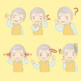 Ο ηληκιωμένος έχει τα προβλήματα αυτιών διανυσματική απεικόνιση