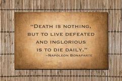 Ο θάνατος δεν είναι τίποτα - απόσπασμα Napoleon Bonaparte στοκ φωτογραφία με δικαίωμα ελεύθερης χρήσης