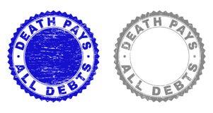 Ο ΘΑΝΑΤΟΣ Grunge ΠΛΗΡΩΝΕΙ ΟΛΕΣ γρατσουνισμένες τις ΧΡΕΗ σφραγίδες γραμματοσήμων απεικόνιση αποθεμάτων