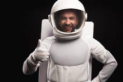 Ο θετικός αστροναύτης εκφράζει το gladness στοκ εικόνα