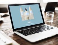 Ο Θεός εκκλησιών θεωρεί τον Ιησού Pray Concept Στοκ Εικόνα