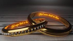 Ο Θεός ενώνει - χρυσά γαμήλια δαχτυλίδια που ενώνονται μαζί για πάντα με χαραγμένος και να φορέσει γάντια λέξεις που συμβολίζουν  διανυσματική απεικόνιση