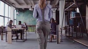 Ο θηλυκός διευθυντής Brunette έρχεται στο σύγχρονο γραφείο Η νέα γυναίκα χαιρετά με τους συναδέλφους, φέρνει τον καφέ στο φίλο Αρ φιλμ μικρού μήκους