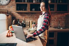 Ο θηλυκός μάγειρας στην ποδιά εξετάζει μια συνταγή στο lap-top Στοκ Εικόνες