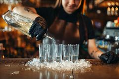 Ο θηλυκός μπάρμαν στα γάντια βάζει τα ποτά στον πάγο στοκ εικόνες
