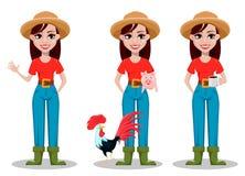 Ο θηλυκός χαρακτήρας κινουμένων σχεδίων αγροτών, σύνολο τριών θέτει ελεύθερη απεικόνιση δικαιώματος