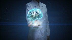 Ο θηλυκός ανοικτός φοίνικας γιατρών, εγκέφαλος συνδέει τις ψηφιακές γραμμές, που επεκτείνουν την τεχνητή νοημοσύνη απεικόνιση αποθεμάτων