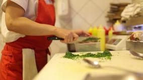 Ο θηλυκός αρχιμάγειρας χεριών έκοψε τα φρέσκα λαχανικά και τον άνηθο απόθεμα βίντεο