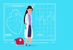 Ο θηλυκός γιατρός κούρασε το κοιμισμένο ιατρικό νοσοκομείο εργαζομένων κλινικών Στοκ φωτογραφία με δικαίωμα ελεύθερης χρήσης