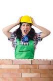 Ο 0 θηλυκός εργάτης οικοδομών για το λευκό Στοκ εικόνα με δικαίωμα ελεύθερης χρήσης
