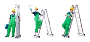 Ο θηλυκός εργάτης οικοδομών με το κουτί εργαλείων και τη σκάλα Στοκ φωτογραφίες με δικαίωμα ελεύθερης χρήσης