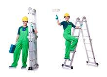 Ο θηλυκός εργάτης οικοδομών με το κουτί εργαλείων και τη σκάλα Στοκ Εικόνες