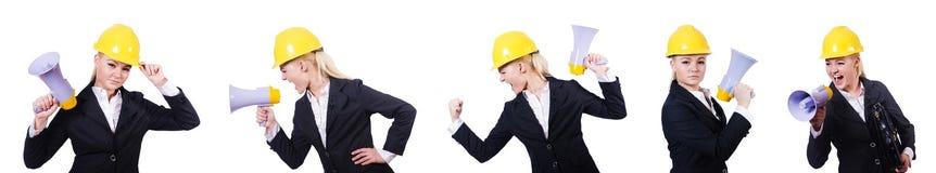 Ο θηλυκός εργάτης οικοδομών με το μεγάφωνο Στοκ φωτογραφίες με δικαίωμα ελεύθερης χρήσης