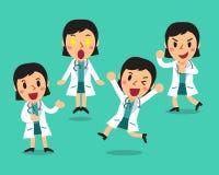 Ο θηλυκός χαρακτήρας γιατρών κινούμενων σχεδίων θέτει Στοκ φωτογραφίες με δικαίωμα ελεύθερης χρήσης
