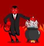Ο διάβολος βράζει το λέβητα αμαρτωλών Δαίμονας που μαγειρεύει το μεγάλο μαύρο τηγάνι σκελετός ελεύθερη απεικόνιση δικαιώματος