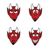 Ο διάβολος χαμογελά το σύνολο εικονιδίων, διανυσματικά στοιχεία 1 σχεδίου Στοκ Εικόνα