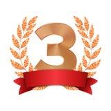 3$ο διάνυσμα βραβείων τροπαίων Τρίτο επίτευγμα τοποθέτησης χαλκού Σχήμα 3 τρία σε ένα ρεαλιστικό στεφάνι δαφνών χαλκού Κόκκινος διανυσματική απεικόνιση