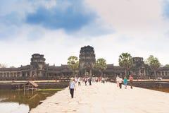 Ο διάσημος ναός σύνθετο κοντινό Siem Angkor Wat συγκεντρώνει στην Καμπότζη Στοκ Φωτογραφίες