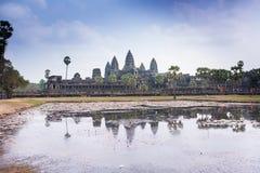 Ο διάσημος ναός σύνθετο κοντινό Siem Angkor Wat συγκεντρώνει στην Καμπότζη Στοκ φωτογραφία με δικαίωμα ελεύθερης χρήσης
