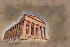 Ο διάσημος ναός Concordia στην κοιλάδα των ναών κοντά στο Agrigento ελεύθερη απεικόνιση δικαιώματος