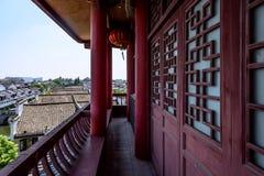 Ο διάδρομος έξω από τον πύργο Wangyue (πύργος φεγγαριών) Στοκ Φωτογραφία