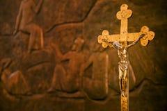 Ο διαγώνιος Ιησούς Sculpture Religion Στοκ εικόνα με δικαίωμα ελεύθερης χρήσης