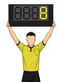 Ο διαιτητής ποδοσφαίρου παρουσιάζει έξτρα χρόνο, η αλλαγή ποδοσφαιριστών διανυσματική απεικόνιση