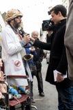 Ο διαμαρτυρόμενος στην αντι διαμαρτυρία UKIP στο νότο Thanet Στοκ Εικόνες