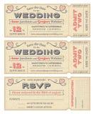 Ο διανυσματικός γάμος προσκαλεί τα εισιτήρια Στοκ Εικόνες