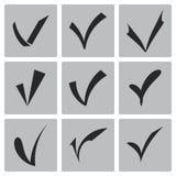 Ο διανυσματικός Μαύρος επιβεβαιώνει τα εικονίδια καθορισμένα Στοκ Εικόνες