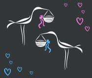 Ο διανυσματικός πελαργός καμπυλών γραμμών σχεδίων έφερε ένα νεογέννητο μωρό Στοκ φωτογραφία με δικαίωμα ελεύθερης χρήσης